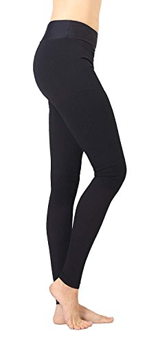 Extra Firm Footless Graduated Compression Microfiber Leggings Opaque Pants (20-30 mmHg) with Control Top (Large)