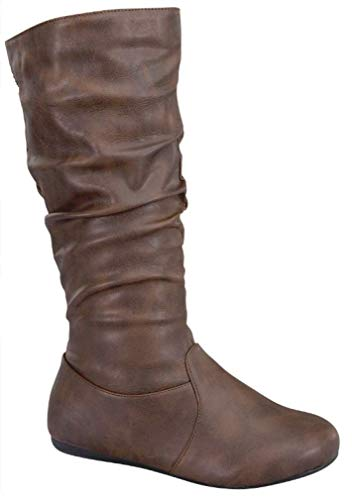 Wells Collection Womens Boots Soft Slouchy Flat to Low Heel Under Knee High, Brown PU, 6