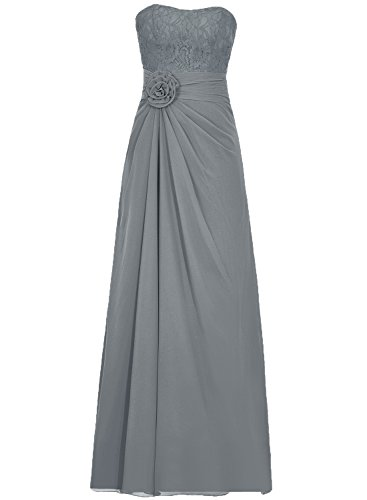 Gowns Bridesmaid Evening Steel grey Lace Long Prom Chiffon Flora Cdress Dresses Dress Maxi qwTXY6xWE