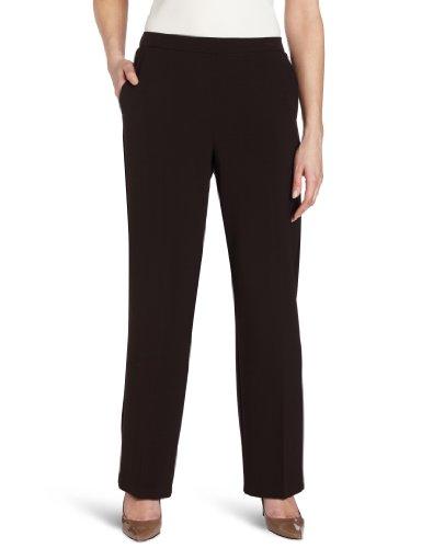 Briggs New York Women's Pull On Dress Pant Average Length & Short Length, Brown, 14 Short ()