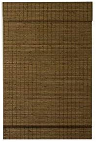 Radiance, Cordless Window Shades for a Custom Size Window Width, Maple, Cape Cod Flatweave Bamboo Roman Shade with Valance, 47 Inch Width x 64 Inch Length