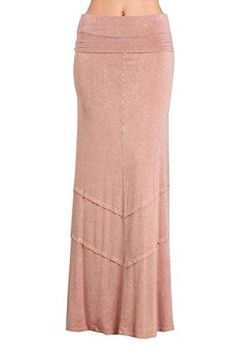 HEYHUN Womens Casual Tie Dye Solid Boho Hippie Long Maxi Skirt - Blush - XL