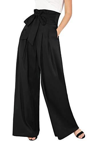 - Milumia Womens Wide Leg Pants High Waist Palazzo Lounge Long Trousers Black L