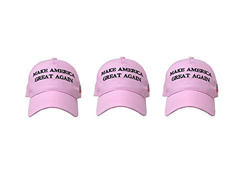 (Ezone Make America Great Again Hat [3 Pack], Donald Trump USA MAGA Cap Adjustable Baseball Hat (Original Pink))