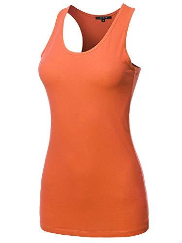 (Women's Basic Solid Soft Cotton Scoop Neck Racer-Back Tank Top Ash Copper L)