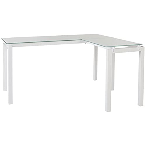 Ashley Furniture Signature Design   Baraga L Shaped Home Office Desk    Contemporary   White Metal   Tempered Glass Tabletop