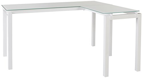 nature Design - Baraga L-Shaped Home Office Desk - Contemporary - White Metal - Tempered Glass Tabletop (Glass Office Furniture)