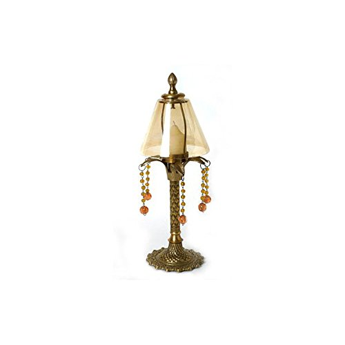 Solid Brass Gold Candle Lamp with Amber color Glass Shade - 14