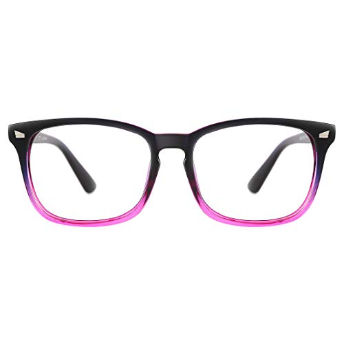 TIJN Womens Square Optical Non-Prescription Glasses Frame Clear Lens Eyeglasses,Purple Gradient Pink