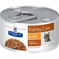 Hill'S Prescription Diet Kidney Care Chicken & Veg Stew Flavor Canned Cat Food, 2.9 Oz, 24-Pack, Small (Best Diet For Cats With Kidney Disease)