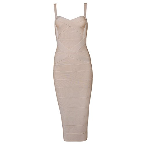 Whoinshop Women's Rayon Strap Celebrity Midi Evening Party Bandage Dress (M, Khaki)
