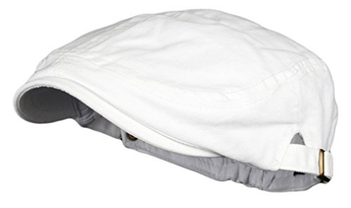 - Men's Cotton Flat Cap Ivy Gatsby Newsboy Hunting Hat, White, One Size