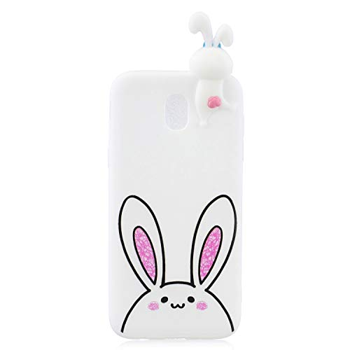 Samsung J3 V 2018 Silicone Case 3D Animal Aeeque Stylish Candy Color Slim Fit Soft TPU Phone Cases Cover Shell Bag for Samsung Galaxy Amp Prime 3/Express Prime 3/Sol 3/J3 Achieve/J3 Star, White Rabbit