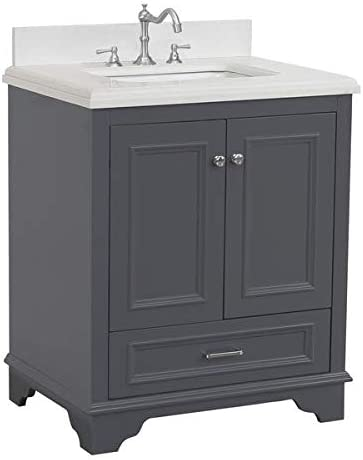 Amazon Com Nantucket 30 Inch Bathroom Vanity Quartz Charcoal Gray Includes Charcoal Gray Cabinet With Stunning Quartz Countertop And White Ceramic Sink Kitchen Dining