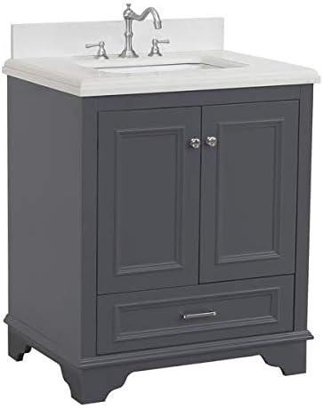 Nantucket 30-inch Bathroom Vanity Quartz/Charcoal Gray   Includes Charcoal Gray Cabinet