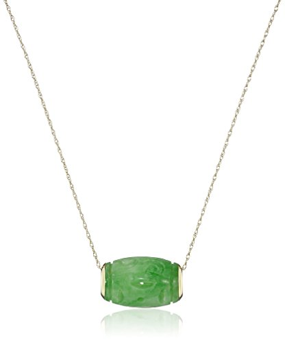 Chinese Carved Jade Pendant (14k Yellow Gold Green Jade Carved Tube Pendant Necklace, 18