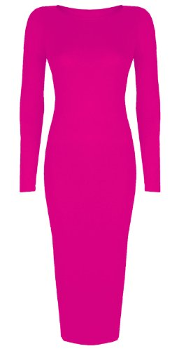 Baleza Women's Inspired Long Sleeve Bodycon Midi Calf Length Dress M/L 12-14 Fuchsia ()