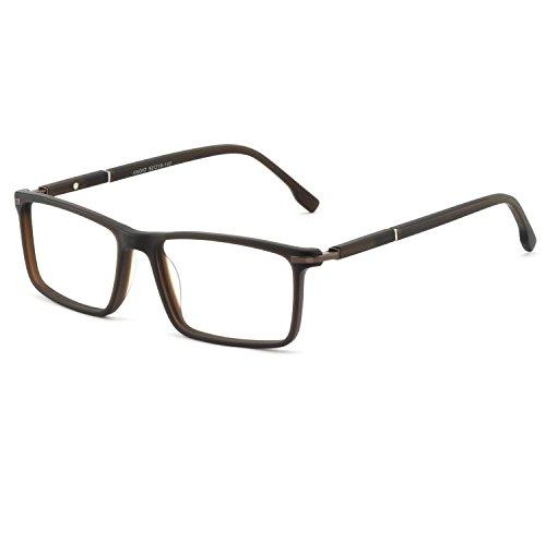 OCCI CHIARI Mens Rectangular/Square Fashion Acetate Eyewear Frame with Clear Lens (17034-Brown(Anti-Bluelight))