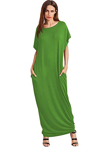 Verdusa Women's Short Sleeve Casual Loose Long Maxi Dress with Pockets Green2 L