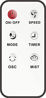 Canary Products CE134 Intelligent Misting Fan Humidifier, Oscillating Fan, Cool Mist Standing Fan, 16 Inches Tall, Black/White