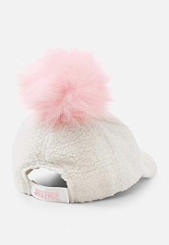 Justice Girls Sherpa Pompom Baseball Cap Bleach White