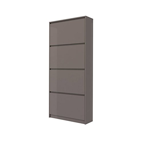 Tvilum 71007dsds Bright 4 Drawer Shoe Cabinet, Mocha High Gloss - Drawer Shoe Cabinet
