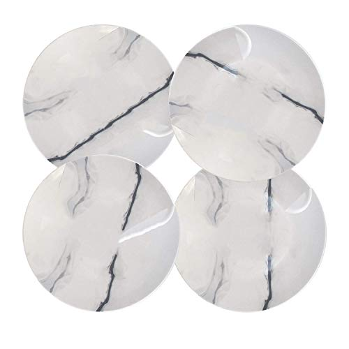 Marble Porcelain Salad Plate Set For Appetizer Dessert Fruit With Service For 4 ()