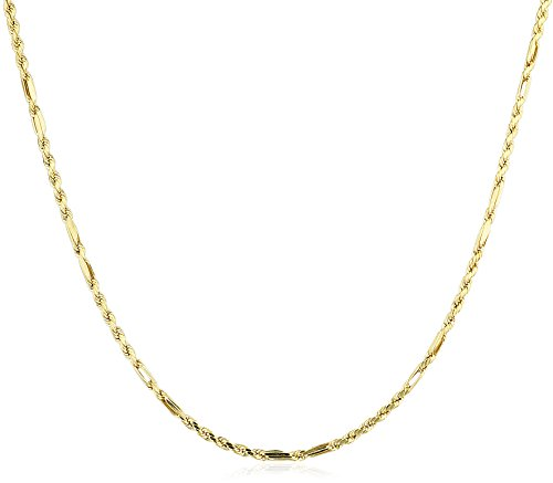 Milano Rope Chain (10K Yellow Gold 3mm Milano Rope Chain Hollow Necklace - 18