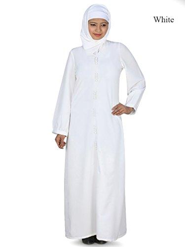 islamische MyBatua abaya lässige AY Abnutzung 010WT maxi burqa weiße amp; formale einfache 14Bw1r7n
