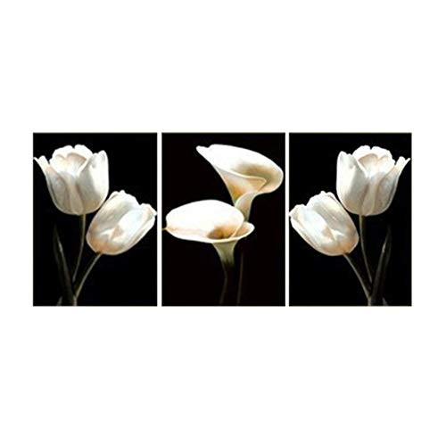 KKJJ Modern Wall Art Painting Pictures White Tulip Calla Lily 3 Part Flower Decorative Painting | Giclee Canvas Prints Artwork for Bedroom, Living Room - Frameless,SizeC