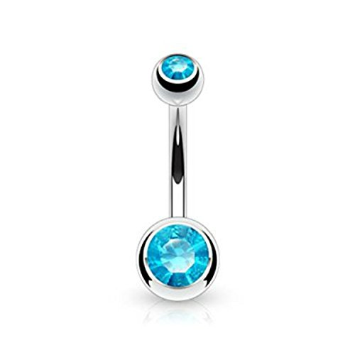 Inspiration Dezigns 14G Belly Button Rings Round Aqua CZ Navel Barbell Stud Body Piercing