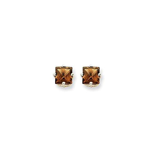 14k White Gold Polished Post Earrings 5mm Square Smokey Quartz Earrings