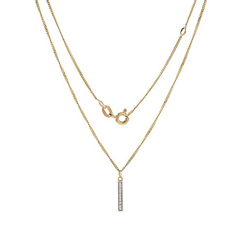 TousiAttar Diamond Necklace Bar- 0.05 ct Bar Drop Pendant - 14k Genuine Yellow Rose White Vertical Necklaces