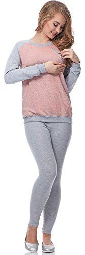 Be Mammy Lactancia Blusa de maternidad para Mujer BE20-156 Melange/Rosa