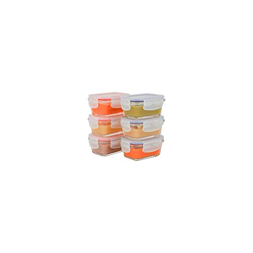 Elacra [4oz, 6-Pack] Glass Baby Food Storage Containers Small Glass Containers with BPA-Free & Locking Lids - Freezer, Oven and Microwave Safe, Pink and Purple Lids