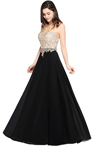 MisShow Women Sheer Neck Rhinestone Gold Lace Long Formal Evening Gown US6 Black - Glamorous Long Gown