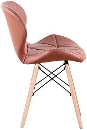 N/C Un Conjunto de 4 sillas de Comedor Medievales, sillas de PU Patas de Metal, adecuadas para Comedor (marrón)