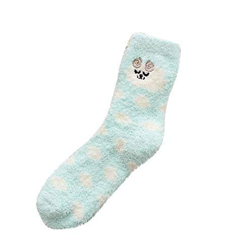 Dot Fuzzy Socks (Women Girls Winter Warm Crew Socks Cuekondy Fashion Cute Dot Animal Print Thick Soft Wool Fuzzy Casual Socks(Blue))