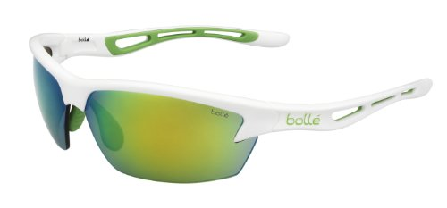Bolle Edge - Bolle Bolt Sunglasses, Shiny White Green Edge/Modulator Green Emerald Oleo AF Lens