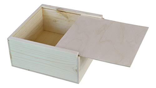 (12x12x5 5/8 Inches Outside Dimensions, Wooden Box with Sliding lid)