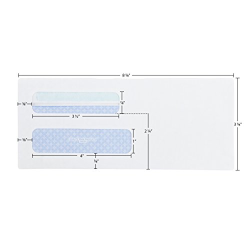 Quality Park #8-5/8 Double Window Security Tinted Check Envelopes with a Self Seal Closure, 24 lb White Wove, 3-5/8 x 8-5/8. 500 per Box (24539)