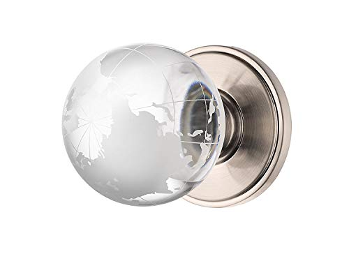 Value Pack of Decor Living, AMG Global, and Enchante Accessories Globe Crystal Door Knob, Passage Function for Hall and Closet, Atlas Collection, DK02S SXO, Satin Nickel (6 Pack) ()