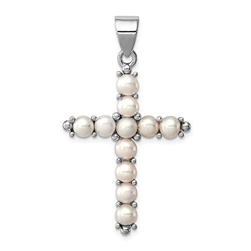 - 925 Sterling Silver Freshwater Cultured Pearl Cross Religious Pendant Charm Necklace Latin Fine Jewelry Gifts For Women For Her