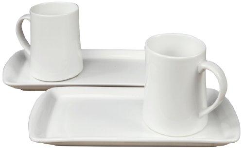 Fortessa Fortaluxe Vitrified China Dinnerware, Hot Chocolate 4-Piece Mug and Tray Set