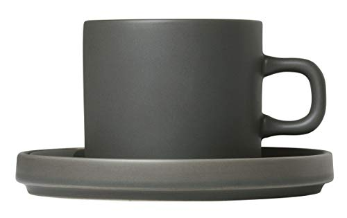 (blomus Coffee Cups with Saucers 200 ML / 7 Ounce - Set of 2 - Agave Green MIO)