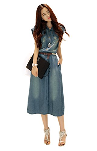 Memorose Women Casual Loose Lapel Sleeveless Denim Pocket Maxi Dress