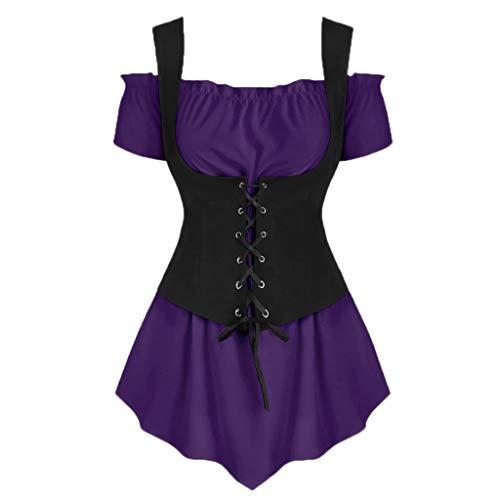 (YEZIJIN Women Cold Shoulder Short Sleeve Shirt Lace Up Tops Blouse Waistcoat Set Sexy Tops for Women Fashion 2019 Purple)