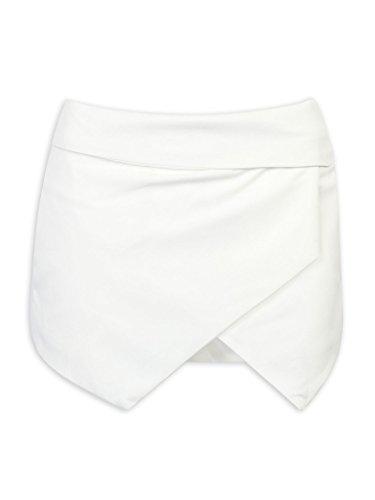 Persun Women White Asymetric Hem Tulip Skorts