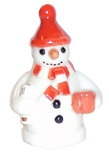 Wade Whimsies Miniature Figurine Snowman with Red Hat