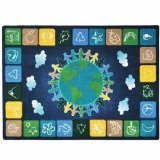 Joy Carpets Kid Essentials Geography & Environment One World Rug, Neutrals, 5'4